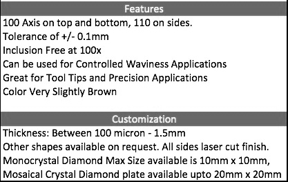 CVD Laser Cut Diamond plates, wafer